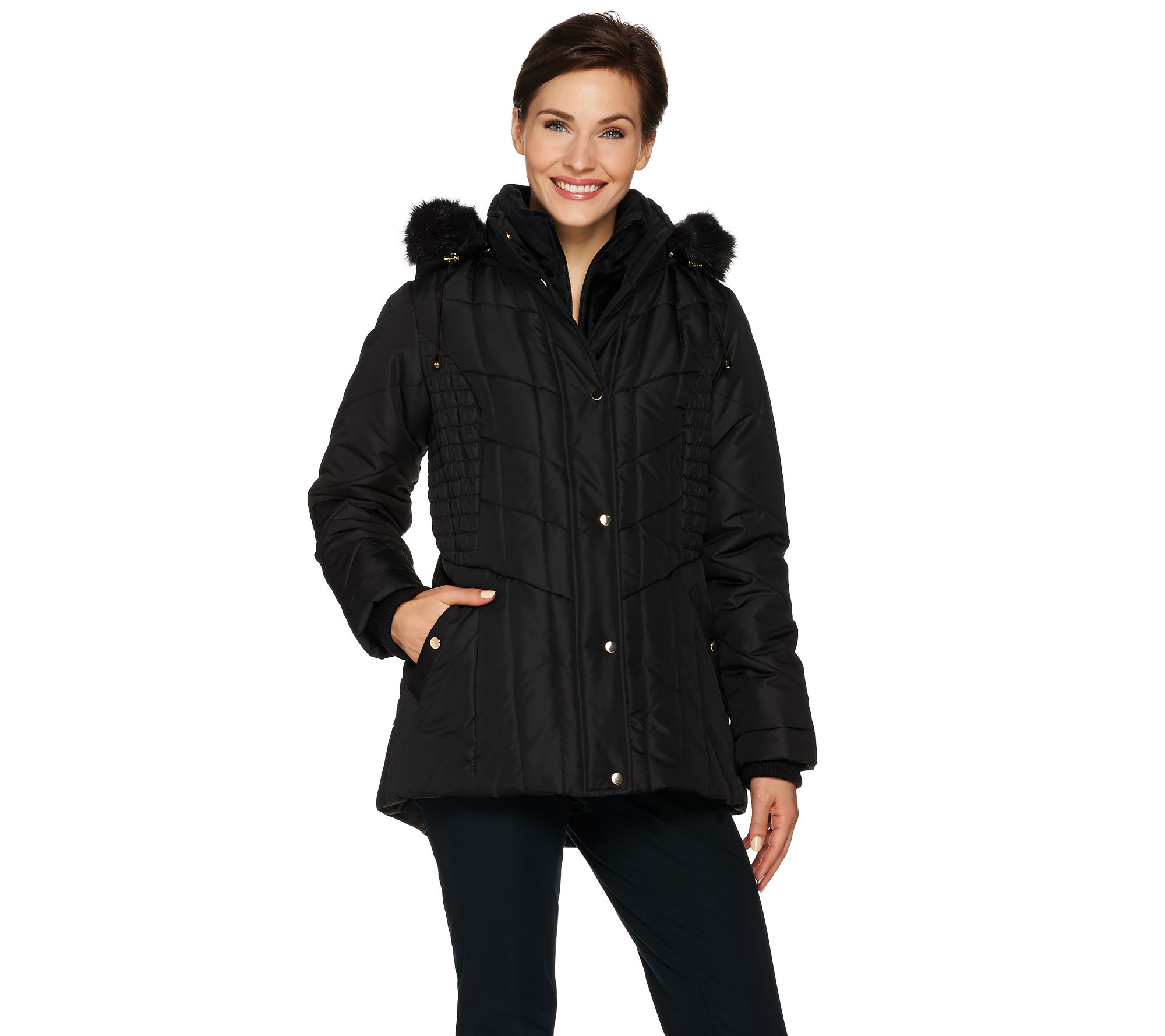 Ships 11 24 Susan Graver Quilted Jacket With Removable