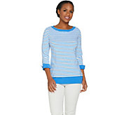 Susan Graver Weekend Striped Cotton Modal Top - A287679
