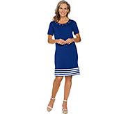 Quacker Factory Short Sleeve Striped Hem Knit Dress with Grommet Detail - A289679