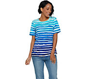 Denim & Co. Painterly Stripe Printed Short Sleeve Knit Top - A290279