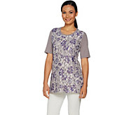 LOGO Lounge by Lori Goldstein French Terry Top w/ Printed Lace Front - A290479