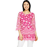 Isaac Mizrahi Live! Bi-Color Lace 3/4 Sleeve Tunic - A290879