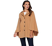 As Is Joan Rivers Classic Cape with Button Front - A291179