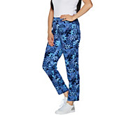 Denim & Co. Active Floral Printed Slim Leg Ankle Pants - A292979