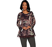 LOGO Lounge by Lori Goldstein Printed French Terry Swing Top w/ Lace at Hem - A297079