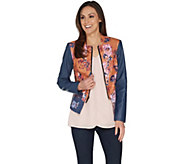 G.I.L.I. Faux Leather Mixed Floral Print Jacket - A302679