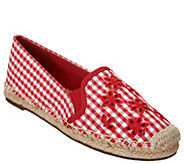 Isaac Mizrahi Live! Gingham Espadrilles with Eyelet Embroidery - A307579