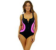 Fit 4 Ur Tummy Zipper Tank Swim Suit - A339779