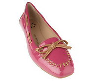 Isaac Mizrahi Live! Patent Leather Moccasins with Bow Detail - A215580