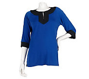 Dennis Basso Matte Jersey Color Block 3/4 Sleeve Shirt - A215780