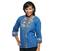 Bob Mackies Santa Fe Dream Embroidered 3/4 Sleeve Jacket - A221780