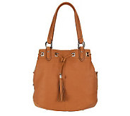 B. Makowsky Glove Leather Drawstring Shopper with Side Pockets - A225080