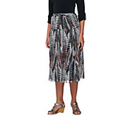 Linea by Louis DellOlio Feather Print Pull-on Pleated Skirt - A227580