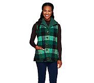 Denim & Co. Plaid Button Front Vest w/ Sherpa Lining - A228280