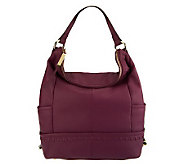 B. Makowsky Pebble Leather Zip-Top Hobo with Stitch Detail - A228880