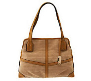 As Is B.Makow sky Straw_Shopp er with Leather Trim - A229180