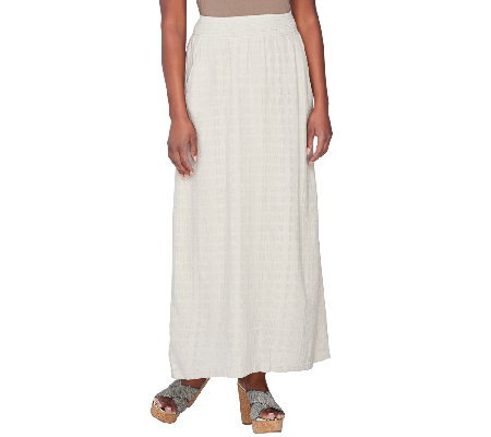 denim co fully lined pull on gauze maxi skirt qvc