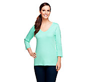Liz Claiborne New York Essentials 3/4 Sleeve Scoop Neck Tee - A233980