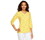 Denim & Co. Perfect Jersey 3/4 Sleeve Polka Dot V-neck Top - A251380