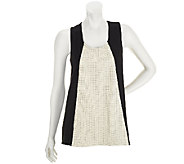 Edge by Jen Rade Sleeveless Knit Top with Faux Leather Panel - A252680