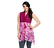 George Simonton Draped Printed Chiffon Duster Vest - A253680