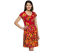 Isaac Mizrahi Live! Watteau Rose Printed Knit Dress - A253880
