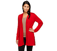 Susan Graver Weekend Cotton Acrylic Open Front Cardigan - A256480
