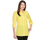 As Is Susan Graver Woven Button Front Big Shirt with Shirttail Hem - A257480