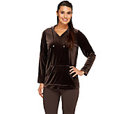 Susan Graver Stretch Velvet Long Sleeve Hooded Pullover - A259580