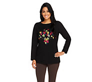 Susan Graver Weekend French Terry Top with Embroidery - A260480