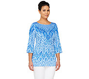 Bob Mackies Printed 3/4 Sleeve Pullover Top - A261780