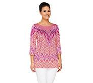 Bob Mackies Printed 3/4 Sleeve Pullover Top - A261780
