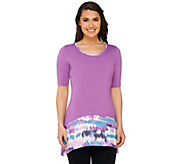 LOGO by Lori Goldstein Regular Knit Top with Printed Trim - A264380