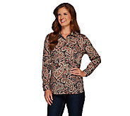 Susan Graver Printed Stretch Cotton Button Front Shirt - A267980