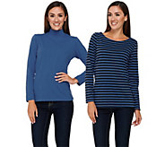 Bob Mackies Set of Two Knit Striped Top and Solid Turtleneck Top - A268380