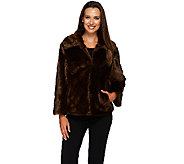 Dennis Basso Platinum Chevron Cut Faux Fur Shrug Jacket - A270680