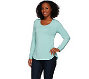 Denim & Co. Essentials Scoop Neck Long Sleeve Top with Curved Hem - A273080