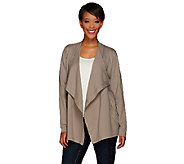 As Is LOGO by Lori Goldstein Ponte Jacket with Suede Trim and Zip Pockets - A275380
