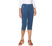 Quacker Factory DreamJeannes Capri Pants with Zipper and Rhinestones - A275580