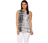 H by Halston Sleeveless Knit Top with Printed Overlay - A277080