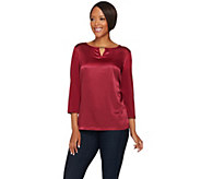 Susan Graver Liquid Knit Top with Woven Front & Keyhole Trim - A278880
