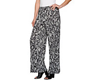 Joan Rivers Regular Length Jersey Knit Wide Leg Pull-On Pants - A280280