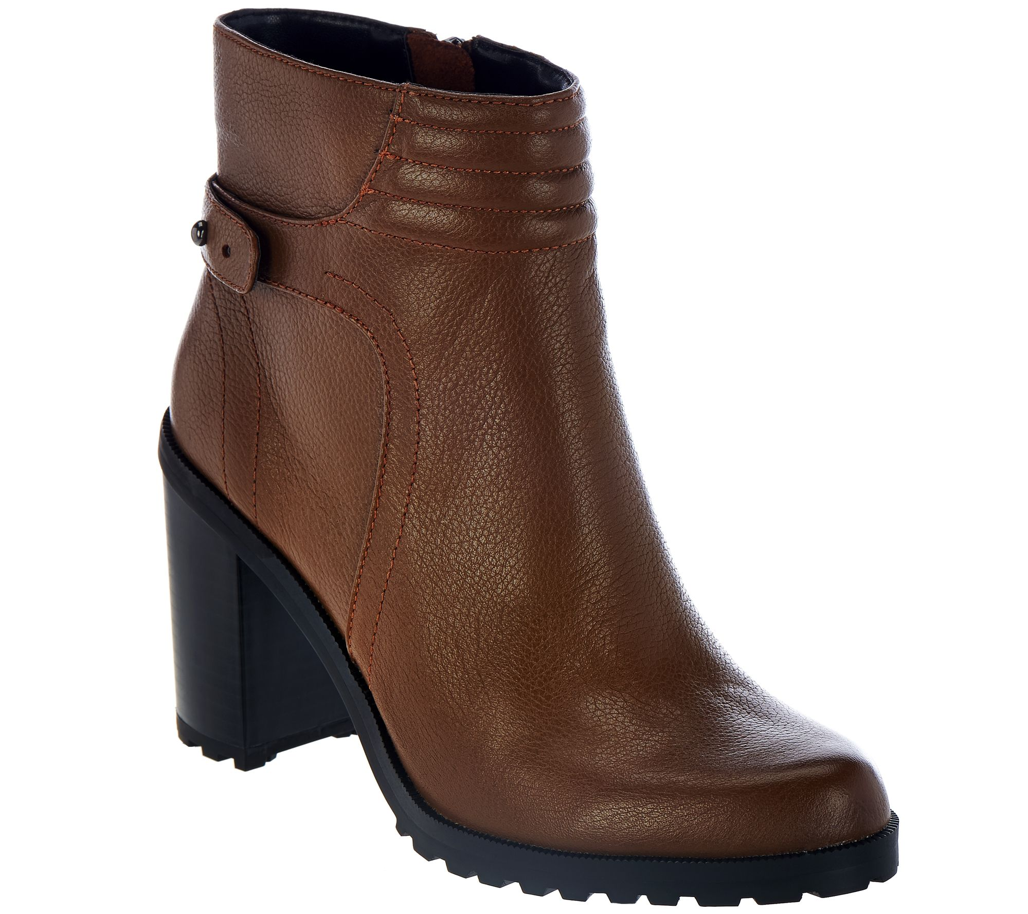 h by leather ankle boots with block heel cara