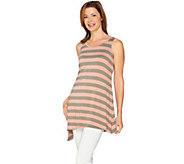 LOGO Layers by Lori Goldstein Striped Knit Top with Asymmetric Hem - A285380