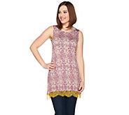 LOGO Layers by Lori Goldstein Printed Tank w/ Scalloped Lace Contrast Hem - A286980