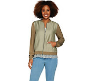 LOGO by Lori Goldstein Zip Front Woven Bomber Jacket w/ Knit Sleeves - A288880