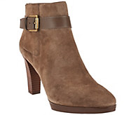 As Is Franco Sarto Suede Boots with Ankle Buckle Detail - Idrina - A289980
