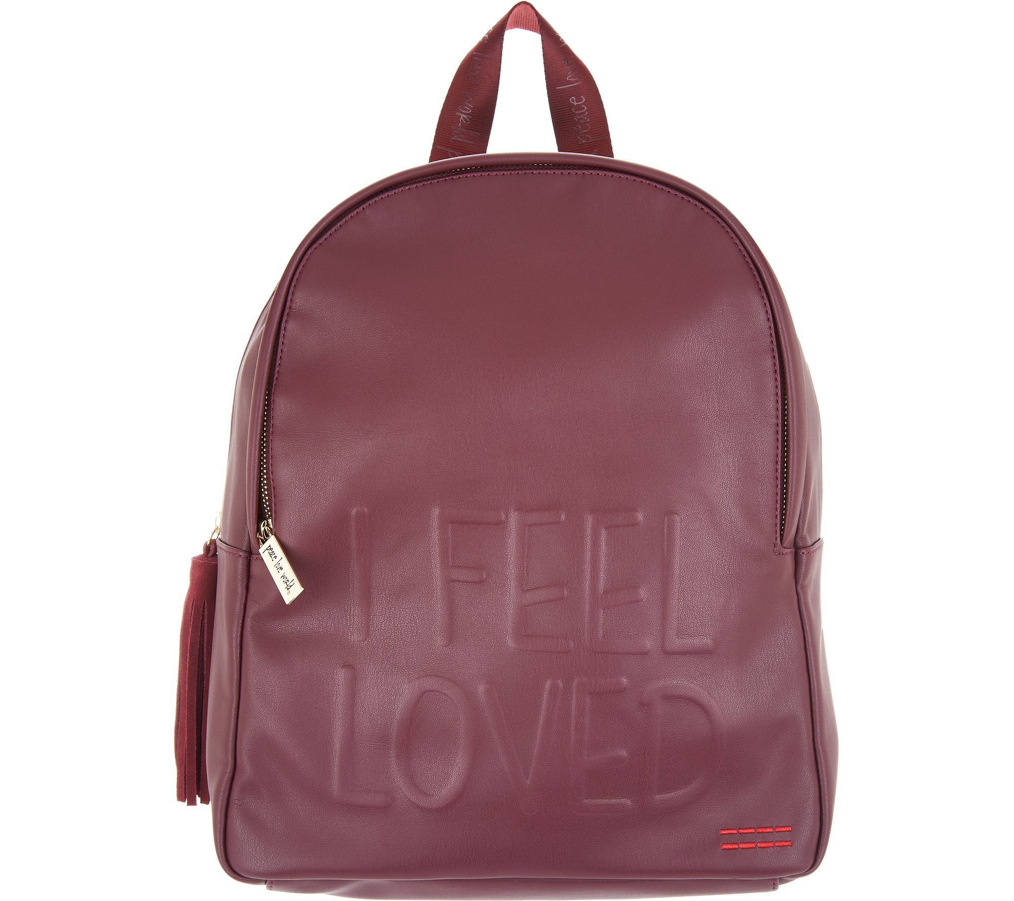 Peace Love World Backpack With Affirmation A