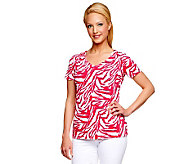 Susan Graver Liquid Knit Printed Short Sleeve V-neck Top - A200681