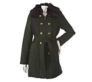 Dennis Basso Zip Front Coat with Faux Fur Collar & Button Detail - A219381